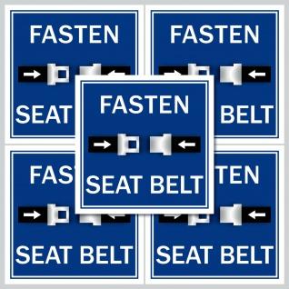 5 Aufkleber Sticker fasten seat belt Sicherheitsgurt Gurt anschnallen anlegen
