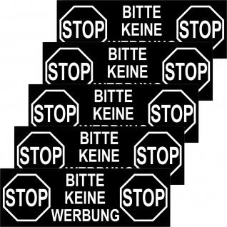 5 Aufkleber groß 12cm STOP KEINE WERBUNG Briefkasten Sticker Schild Hinweis