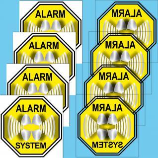 8 Stück Alarm System Aufkleber Sticker Hinweis Warnung Abschreckung gespiegelt