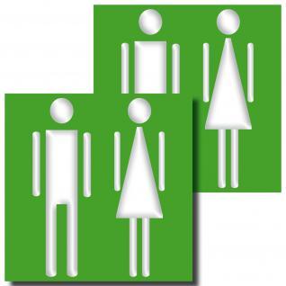 2 Aufkleber 10cm WC Mann Frau Sticker Toilette Tür Wand Hinweis Zeichen Symbol
