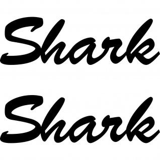 2 Aufkleber 18cm schwarz Shark Schriftzug Tattoo Auto Klebefolie Deko Folie