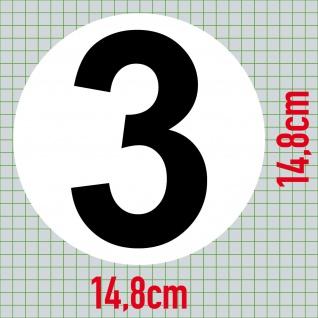 Set 9 Aufkleber 15cm Sticker 1 bis 9 Start Nummer Zahlen Racing Motor Sport Auto - Vorschau 4