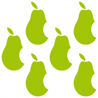 6 Aufkleber 5cm grün Birne statt Apfel Handy Tattoo Deko Folie Apple verarsche - Vorschau 3