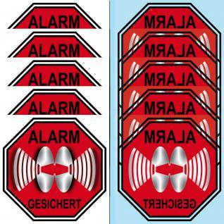 Alarm gesichert Aufkleber 5cm Sticker gespiegelt für Klebung Innenseite Fenster