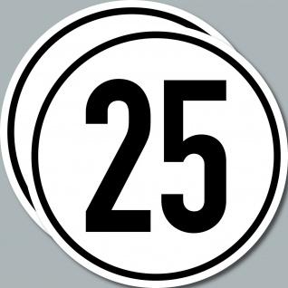 2 Aufkleber Sticker 25 kmh km/h 20cm Geschwindigkeit Auto Bus Pkw TÜV DIN1451