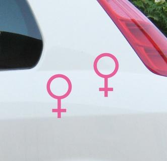 2 Aufkleber Tattoo 13cm rosa Frau Venus girl Symbol Zeichen Auto Tür Deko Folie