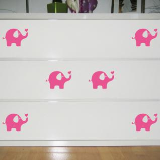 6 Aufkleber Elefant rosa 10cm Tattoo Deko Folie Kinderzimmer Möbel Fenster Regal