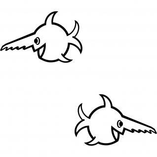 2 Aufkleber Auto Tattoo Folie 18cm schwarz U96 Fisch Sägezahnfisch Schwertfisch