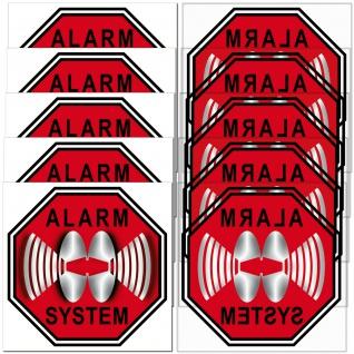 für 5 Fenster STOP Alarm System 5cm rot Aufkleber Sticker Glas Tür Innenseite