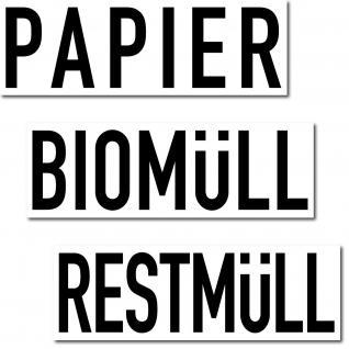 15 Aufkleber Sticker 20cm Papier Biomüll Restmüll Müll Abfall DIN ISO Trennung
