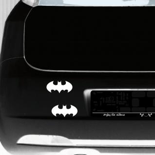 2 Aufkleber Tattoo 10cm weiß Batman rund Auto Tür Fenster Spiegel Deko Folie