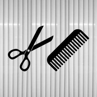 set aufkleber schere kamm 30cm schwarz deko folie klebefolie friseur haarstudio kaufen bei. Black Bedroom Furniture Sets. Home Design Ideas