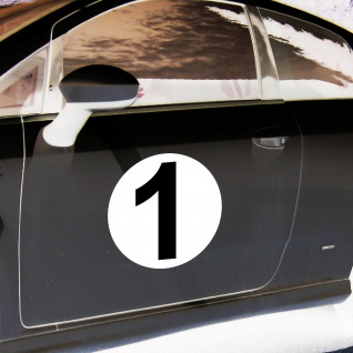 2 Aufkleber 20cm Sticker Start Nummer 1 Ziffer Zahl Racing Auto Motor Sport Kart