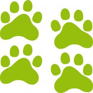 2 Paar 8cm grün Aufkleber Pfoten Pfötchen Katze Hund Tattoo Auto Napf Deko Folie