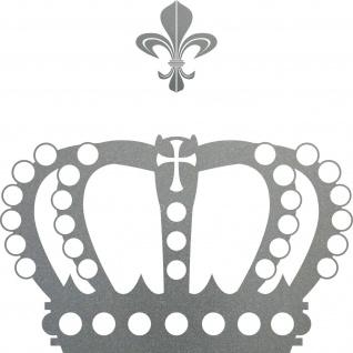 Krone mit Lilie 38cm silber Aufkleber Tattoo Deko Folie Auto Möbel Fenster Tür