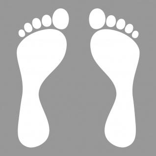 1 Paar 2 Füße 20cm weiß Fuß Abdruck Spur Aufkleber Auto Möbel Tattoo Deko Folie