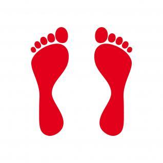 1 Paar 2 Füße 12cm rot Fuß Abdruck Spur Aufkleber Auto Möbel Tattoo Deko Folie - Vorschau