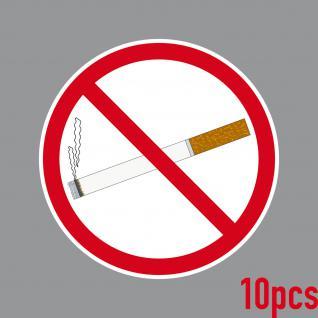 10 Aufkleber 10cm rund Sticker Rauchen Verboten Nichtraucher Rauchverbot Schild