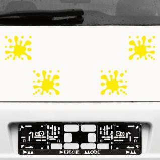 4 Stück gelb Farb Kleckse Tupfer Spritzer Aufkleber Tattoo die cut Deko Folie
