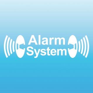 Alarm System weiß gespiegelt Aufkleber Tattoo Auto Balkon Shop Fenster Scheibe