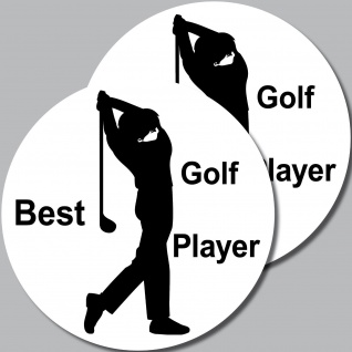 2 Aufkleber 10cm Sticker Best Golf Player Golf Fan Freund Golfspieler Golfsport