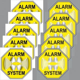 5+5 Aufkleber 5cm gelb Sticker Alarm System Set Innenseite Glas Fensterscheibe