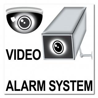Aufkleber 20cm Sticker Video Alarm System Überwachung Warn Kamera CCTV Hinweis