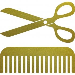 Aufkleber Schere Kamm 30cm gold Deko Folie Fenster Klebefolie Friseur Haarstudio