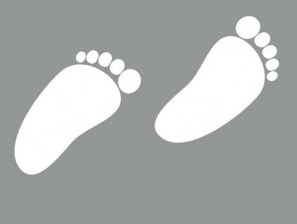 1 Paar 2 Füße 8cm weiß Baby Fuß Abdruck Aufkleber Auto Möbel Tattoo Deko Folie - Vorschau 3