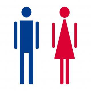 Aufkleber 12cm Mann Frau rot blau WC Toilette Bad Tür Hinweis Deko Folie die cut