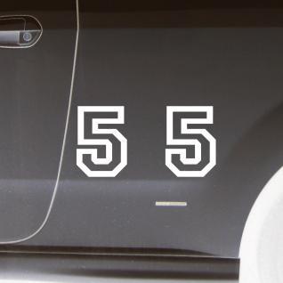 2 Stk. Aufkleber Tattoo Folie Startnummer 5 racing Nummer Zahl Ziffer 15cm weiß