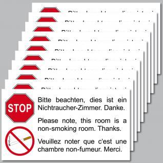 10 Stück Aufkleber 9cm Sticker Rauchverbot Nichtraucherzimmer Hinweis Schild