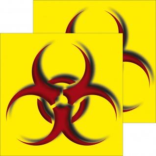 2 Aufkleber 10cm Sticker Biohazard Bio Warnung Gefahr Abfall Trennung Labor Tür