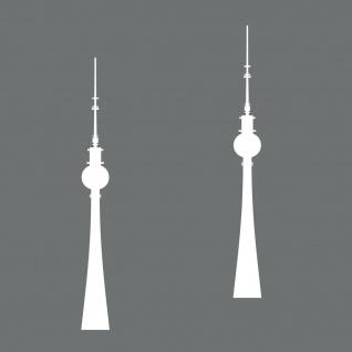 2 Aufkleber 20cm weiß Tattoo Fernsehturm Turm Berlin Telespargel Auto Möbel Deko