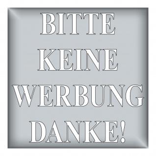 Aufkleber 5cm silber BITTE KEINE WERBUNG DANKE Briefkasten Reklame Zeitung Flyer