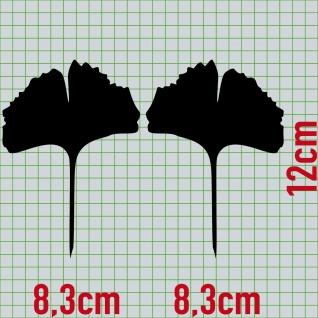 1 Paar 2 Blätter 12cm schwarz voll Ginkgo Blatt Aufkleber Tattoo Ginko Gingko - Vorschau 2