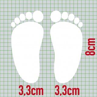 1 Paar 2 Füße 8cm weiß Baby Fuß Abdruck Aufkleber Auto Möbel Tattoo Deko Folie - Vorschau 2