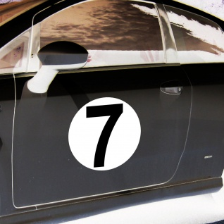 2 Aufkleber 20cm Sticker Start Nummer 7 Ziffer Zahl Racing Auto Motor Sport Kart