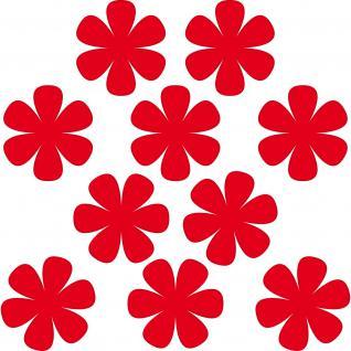 10 Aufkleber Tattoo 8cm rot Blumen Blümchen Deko Folie Kinder Zimmer Tür Schrank