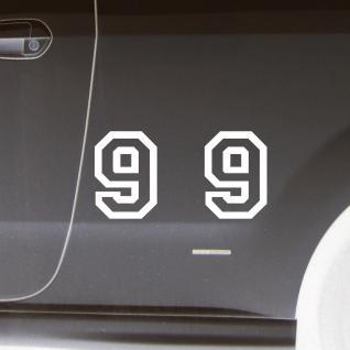 2 Stk. Aufkleber Tattoo Folie Startnummer 9 racing Nummer Zahl Ziffer 15cm weiß