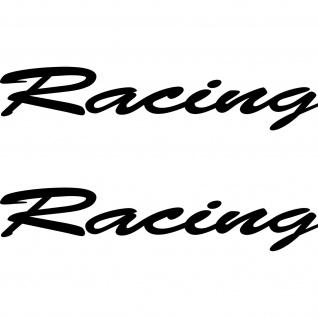 2 Aufkleber Schriftzug Racing 20cm schwarz Tattoo Deko Folie Auto Heck Klappe