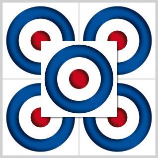 5 Aufkleber Sticker 5cm Target mod symbol Zeichen auf weißer PVC Folie indoor