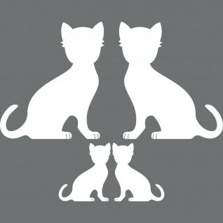 4 Katzen Familie links + rechts weiß Aufkleber Tattoo Deko Folie Auto Fenster