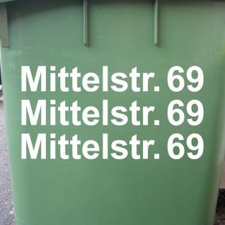 3 Stück 30cm weiß Wunsch Beschriftung Aufkleber Tattoo Folie Mülltonne Haustür
