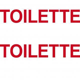 2 Aufkleber 35cm rot TOILETTE Hinweis Schriftzug Tür WC Bad Tattoo Deko Folie