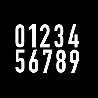 10 Aufkleber 8cm weiß DIN1451 Haus Tür Auto Ziffer Zahl Nummer Verkehrsschrift