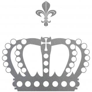 Krone 38cm + Lilie silber König Aufkleber Auto Fenster Tür Wand Tattoo Dekofolie