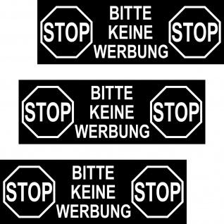 3 Aufkleber 12cm groß STOP BITTE KEINE WERBUNG Warnung Hinweis Außen Briefkasten