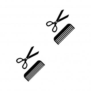 4 Aufkleber Tattoo 10cm schwarz Schere Kamm Auto Deko Folie Friseur Haarstudio