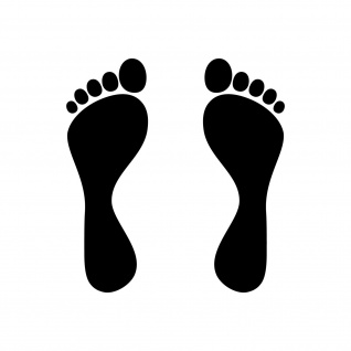 1 Paar Füße 15cm schwarz Fuß Abdruck Spur Aufkleber Auto Möbel Tattoo Dekofolie